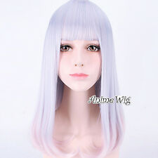 Lolita Straight Medium Gray Mixed Pink Anime Cosplay Hair Full Wig With Bangs