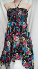 Holiday Floral Tropics sun holiday beach asymmentrical DRESS / SKIRT 14 VISCOSE