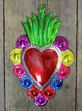 Tin Milagro Sacred Heart Ornament Green Flames Oaxaca Mexico Folk Art Love Token