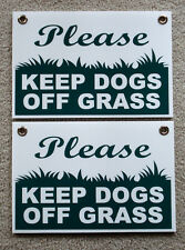 """2 PLEASE KEEP DOGS OFF GRASS 8""""X12"""" Plastic Coroplast Signs with Grommets  NEW"""