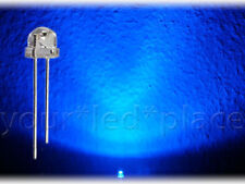 100 x LED 5mm straw hat - BLAU, 90-120° Kurzkopf Flachkopf Ultrahell blue