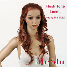 Hand-Tied Flesh Lace Front Synthetic Full Wigs Glueless Light Brown 92#30 (F)