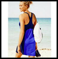 Athleta NWT Women's Color Block Swim Dress Size Small Tall Color Blue/Navy