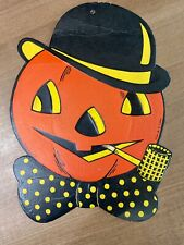 Vintage H. E. Luhrs 1940'S/1950'S Halloween Embossed Diecut - Jack O'Lantern {A}
