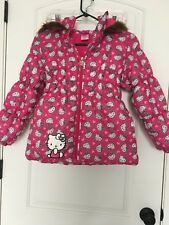 Hello Kitty Girls Lined Coat Jacket Faux Fur Hood Sz 10 MultiColor Clothes