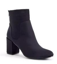 JustFab Roxane Womens UK 6 Black Nylon Block Heeled Rear Zip Ankle Boots