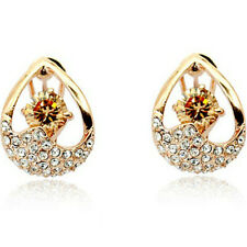 Elegant golden rose gold finish omega back dress earrings quality jewellery UK