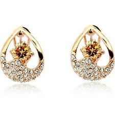 Elegant golden rose gold finish omega back dress earrings quality jewellery UK