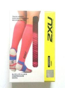 2XU Women Elite Lite X Lock Compression Socks Pink Peacock/White Size XS