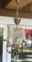 Antique Crystal Bronze Brass Bell Lantern Chandelier Hall Ceiling Fixture