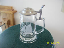 "Old Spice Beer Stein Etched Glass ""Columbia 1901"" West Germany Pewter Handle"