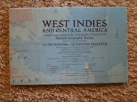 National Geographic Magazine Map Supplement January 1970 West Indies Map