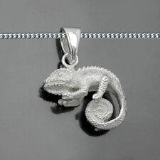 Chamäleon Gecko detailreicher Tier Motiv Anhänger mit Kette Echt Silber 925 Neu