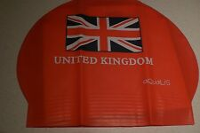 New in Bag AQUALIS UNITED KINGDOM UNION JACK FLAG Red Latex Swim Cap - Swimming