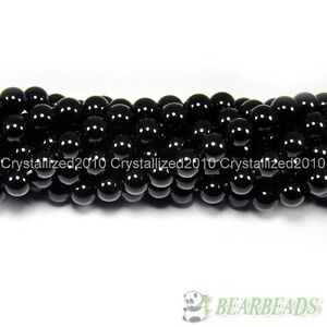 "Natural Black Onyx Gemstones Round Beads 2mm 3mm 4mm 5mm 6mm 8mm 10mm 12mm 15.5"""