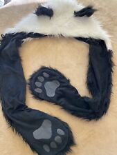 Panda Bear Faux Fur Plush Hat Furry Hat Pocket Hands Paws Polyester & Acrylic
