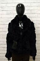 Pelliccia Donna in Lapin Nero GAUDI CHIC Taglia 40 Cappotto Giacca Jacket Rabbit