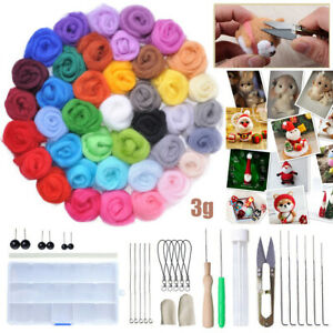 40- Colours Wool Felt Needles Tool Set + Needle Felting Mat Starter DIY Kit ol