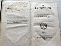 1819 DE LA ROYAUTE DE LA SERVE*T RARE E.O*LIVRE HISTOIRE MONARCHIE BOURBON DROIT