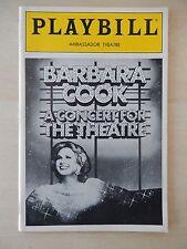 April 1987 - Ambassador Playbill - Barbara Cook - A Concert For The Theatre