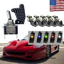 5Pcs 12V 20A Car Truck Carbon Fiber LED Light Toggle Rocker Switch SPST 5Colors