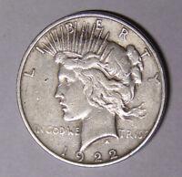 1922-D Peace Silver Dollar Circulated Denver Mint Coin