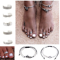 Toe Rings for Women Wide Big Boho Toe Ring for Girl Ladies Silver PLT Anklet