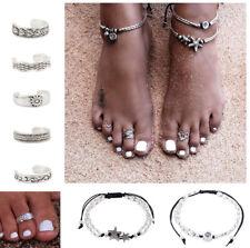 Toe Rings for Women Wide Big Boho Toe Ring for Girl Ladies Silver PLT Anklet