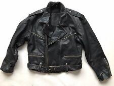 Vintage Black Genuine Leather Perfecto Biker Jacket Medium Motorcycle Racer Rock