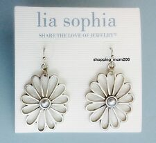 """Lia Sophia """"Bouquet"""" Silver Tone with Pearl Floral Earrings"""