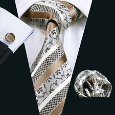 Men tie set Silk Tie Brown Stripe ties Hanky Cufflinks neckwear wedding CS-905