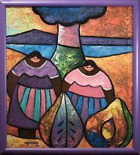 "Juan Ramon Serrano Original Oil Painting ""South American Women in Landscape"" EXC"