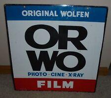 """Vintage  Wolfen Film Camera Gas Oil 2 Sided 20"""" Porcelain Metal Sign~Nice"""