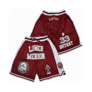 New Lower Merion Bryant #33 Basketball Shorts Sewn With Pockets Hip Hop Workout