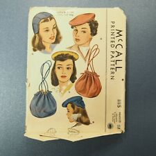 Vintage 1944 McCall's Hat & Bag Pattern 1115 ~ Size 22