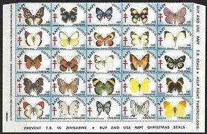 Zimbabwe 1981 Christmas RAPT Part Sheet of 25 Superb MNH Butterflies