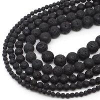 "Natural Gemstone Black Volcanic Lava Round Loose Beads 15"" 4mm 6mm 8mm 10mm 12mm"