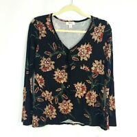 NWT Style & Co Womens sz Petite S Black Floral Knit Top Long Slv V Neck Tassel