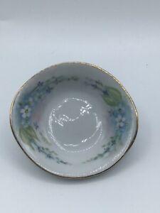 Vintage Butter Pat Dish Porcelain Blue Floral Design