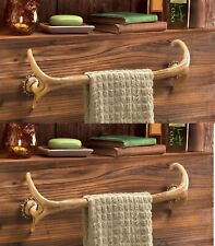 2 Deer Antler Lodge Rustic Kitchen Bathroom Bath Towel Holder Long Bar Rack Hook