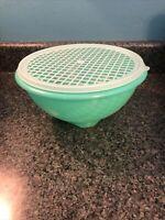 Vintage Tupperware Green Lettuce Colander #339 With Strainer Lid #516