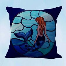 US Seller- decorative bed pillows wholesale stained glass mermaid cushion cover