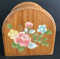 Pfaltzgraff Tea Rose Wooden Napkin Holder Blue Yellow Pink Flowers Floral