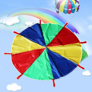 10ft Multicolored Kids Play Parachute with 8 Handles Cooperative Games