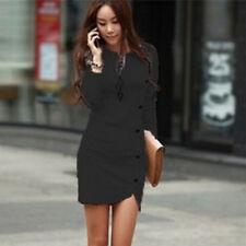 Women Elegant Winter Long Sleeve Buttons Slim Hip Casual Dress Bodycon Dresses Black L