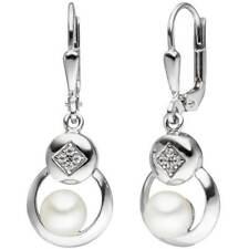drei weiße Zuchtperlen und Silber  //8526 Ohrhänger