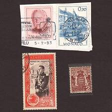 4 Vintage postage stamps loose world/foreign MONACO 1 uncancled w gum
