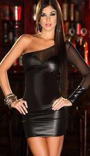 Wetlook One Shoulder Black Mini Dress Fetish Faux Latex Bodycon Clubwear sexy