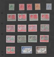 ST. KITTS & NEVIS 1938-50 KGVI SET OF 20  (SG 68-77f)  MINT CV £125