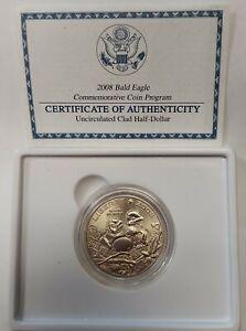 2008-S Bald Eagle Commemorative GEM BU Clad Half Dollar Original Box With COA